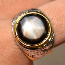 54.59ct Natural Cabochon Black Stars Sapphire 6 Ray 925 Gold Silver Ring 9US #R
