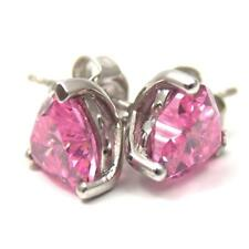 Diamond-Unique Pink 2.50ct Heart Stud Earrings Solid Silver Rhodium Platinum