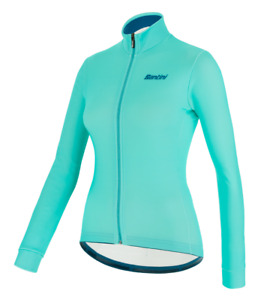 Women's Colore Long Sleeve Cycling Jersey in Water Blue - Size XS - by Santini