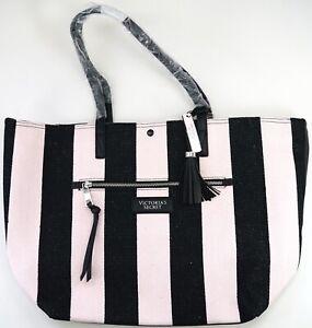 New Victoria's Secret Pink & Black Striped W/ Tassel Fabric Tote Bag Purse