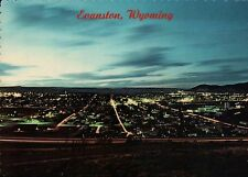 The Lights of Evanston Wyoming at Dusk, Uinta County WY, Twilight --- Postcard