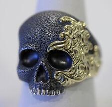 DAVID YURMAN NEW Sterling Silver 18K Gold Mens Waves Skull Ring 10