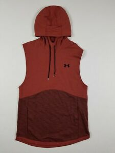 NEW Sz Medium Men's Under Armour Double Knit Sleeveless Pullover Hoodie Red