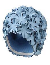 Vintage Retro Style Bathing Cap Swimming Cap Ladies Aqua Blue Flowers Flowery