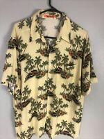 Vtg Sun Fusion Mens XL Hawaiian Palms Aloha Camp Rayon Shirt Classic Cars Floral