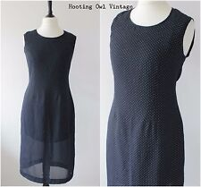 Vintage 1980s 90s Classic Black Polka Dot Shift Dress Workwear Office 14 16