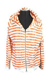 Hurley Women's XL Adult Orange & White Striped L/S Terry Hoodie, Full Zip, Beach