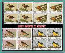CHINA TAIWAN 1990 BIRDS in BLOCKS of 4 SC#2737-40 MNH CV$16.20
