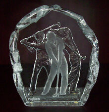Signed, Nybro Sweden, Golfer In Motion, Paper Weight, Heavy