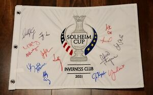 2021 Solheim Cup Team USA Autographed Golf Pin Flag Inverness Club Nelly Korda