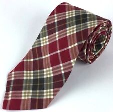 "New Gap Men's Short Plaid Tie Wool Rayon Red Green White 3 3/8"" W x 55 5/8"" L"