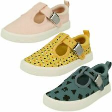 Childrens Clarks 'City Spark T' T-Bar Canvas Casual Pumps F & G Fittings