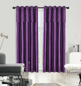 PURPLE CRUSHED VELVET &  FAUX SILK WINDOW CURTAINS EYELET RING TOP FULLY LINED