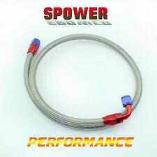 AN10 Stainless Braided Oil Fuel Line Hose 1.4M +Straignt + 90°Swivel Fitting Red