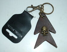 GOTHIC HEAVY METAL SKULL 3D KEYRING  On leather