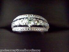 WHITE SAPPHIRE WEDDING ENGAGEMENT ANNIVERSARY BAND RING SIZEABLE 7 + GIFT!