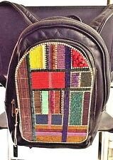 Multi-Color Vintage-Hand-Beaded Leather Knapsack-1 of a Kind- Design by Dana