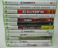 12 GAME LOT FOR MICROSOFT XBOX 360, DISC, CASE INLAY, BOOKLET, COD, SKYRIM,CREED