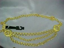 Vintage Gold Tone Metal Belt with 3 small drop down chains 39 In Long NEW  E