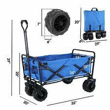 Heavy Duty Collapsible Outdoor Utility Wagon Beach Garden Cart Shopping Trolley