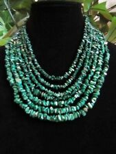Substantial Designer Jay King Heavy 7 Strand Malachite Necklace Sterling Clasp