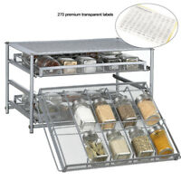 3-Tier Spice Rack Drawer Kitchen Pantry Cabinet Organizer Silver for 30 bottles