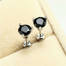 Three-Prong Martini 1ct Round Black Sapphire Stud Earrings 18K White Gold Plated