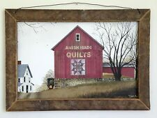 """Primitive Country Rustic Vintage Style """" QUILT BARN """" Tobacco Lath Framed Art"""