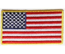 "(00) 2.5"" x 1.4"" Small US FLAG with YELLOW BORDER iron on patch (4943) Cap Hat"