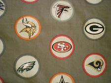 Custom Valance~ Footballl Logos~ NFL Stone or Gray Fabric  Pottery barn Teen PBT
