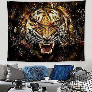 3D Angry Tiger Animal Printed Art Wall Hanging Tapestry Bedspread Home Decorate