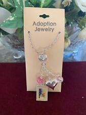 ADOPTION JEWELRY  SET ~Adopting Child~ Charms Hinging W/Sliver Hearts &Pink Ball