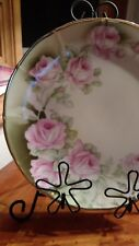 GERMANY DECORATIVE PORCELAIN PINK CABBAGE ROSE WALL CABINET PLATE