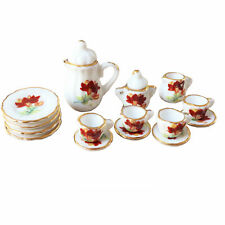 Dollhouse Decor Ceramic Flower-de-luce 15Pcs Tea Set 1:12 Miniature Accessories