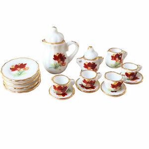 Dollhouse Decor Ceramic Flower-de-luce 15Pcs Tea Set 1:12 Miniature Accessories