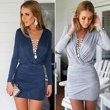 Ladies Long Sleeve V Neck Mini Wrap Dress Bodycon Cocktail Party Evening Club