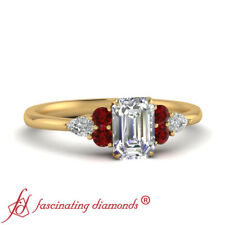 Emerald Cut Diamond & Ruby Gemstone Engagement Ring In 18K Yellow Gold 0.90 Ctw