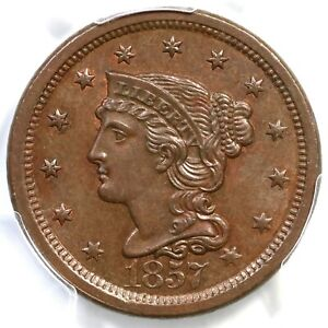 1857 N-1 PCGS MS 64 BN CAC Large Date Braided Hair Large Cent Coin 1c