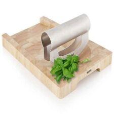6 x Thomas Fresh Herb Wooden 30cm Chopping Board with Mezzaluna Hachoir