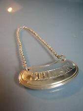 """1899 Vittoriano RENE Bean in argento BOTTIGLIA BIGLIETTO Decanter inciso """"SHERRY"""""""