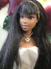 Mattel african american Girl Doll Barbie  Pretty hair gold dress RARE OOAK