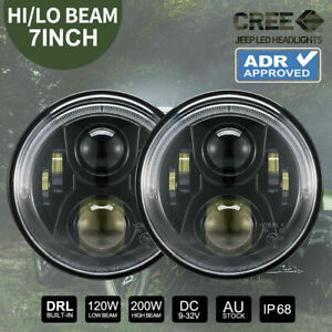 Pair 7 inch LED Headlights 100W CREE For Jeep Wrangler TJ JK 97-17 ADR Approved