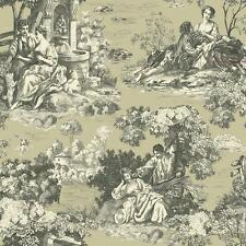 Wallpaper Classic French Toile Gray Beige on Pearl Pewter Green Background