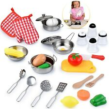 Educational Kids Kitchen Toy Set,with Stainless Steel Cookware Pot and Pan Set