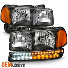 1999-2006 GMC Sierra Yukon XL Black Headlights + LED Bumper Signal Lights Lamps