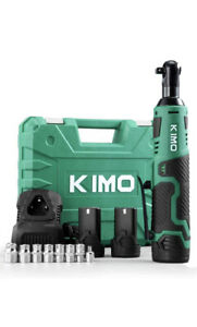 """KIMO Cordless Electric Ratchet Wrench, 2 Batteries, 3/8"""" 50Ft-lbs, 8 Sockets"""