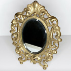 Vintage Brass Victorian Standing Vanity Mirror Exc  Patina and Condition