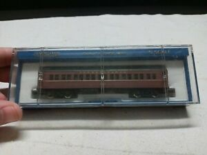 Rare Vintage Bachmann N Scale' Brown Coach Passenger Car w/Case # 5611