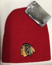NWT NHL YOUTH CHICAGO BLACKHAWKS RED KNIT BEANIE HAT