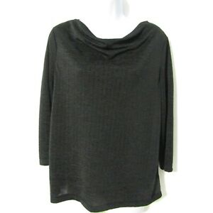 Easywear by Chicos size 1 Blouse Top = Medium/8 Solid Black Stretch 3/4 sleeve